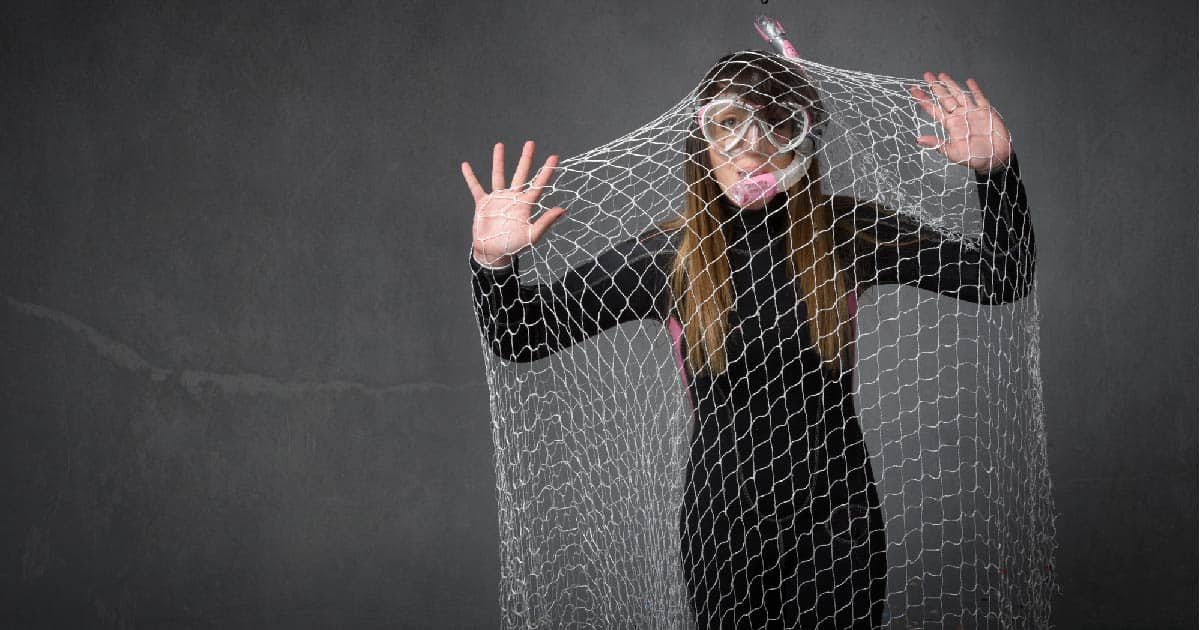 Woman captured in a net