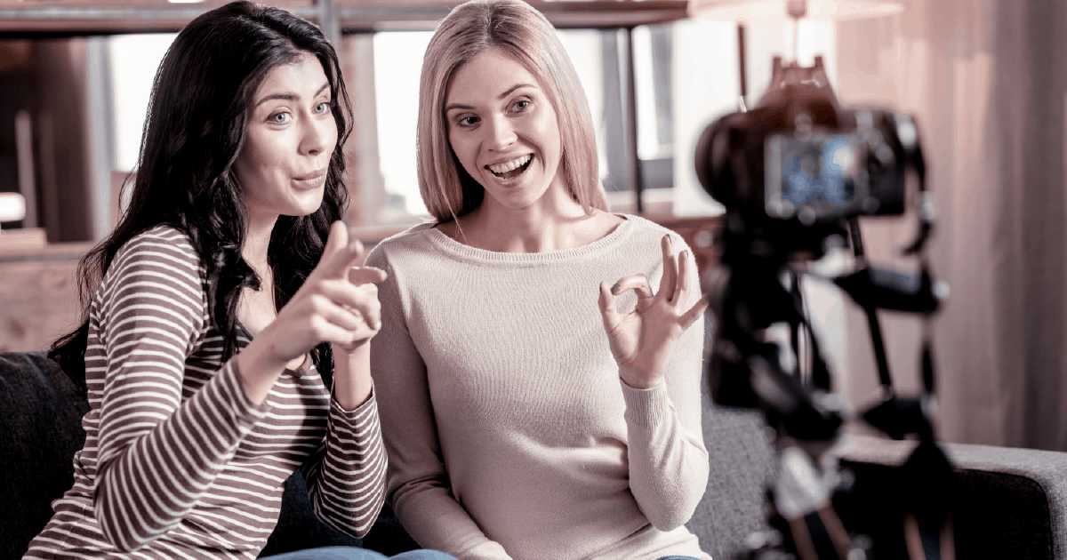 Two women using video as a sales tool
