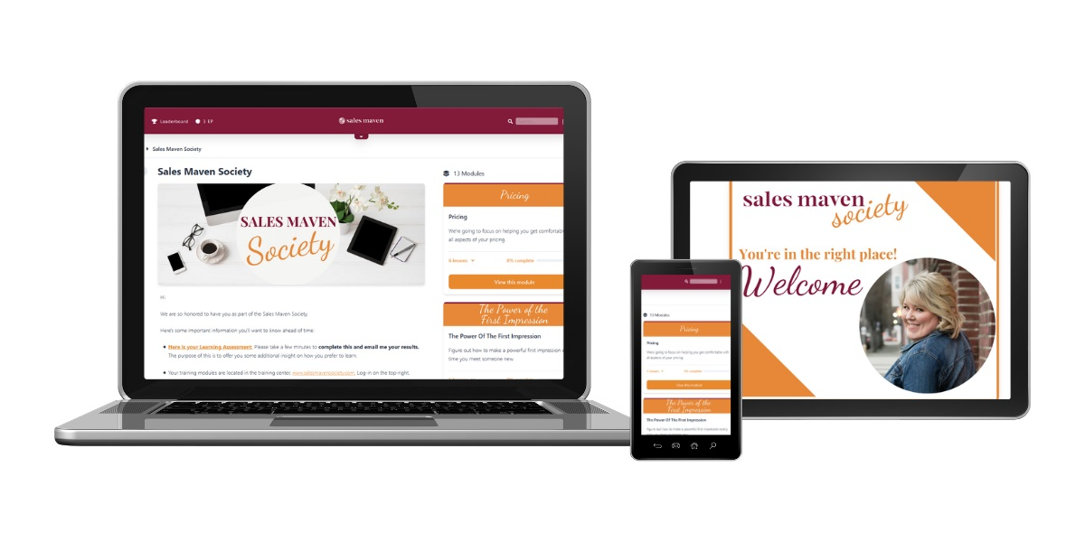 Sales Maven Society on laptop and mobile devices